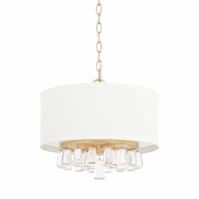 Harlow 4 light gold drum pendant with crystals and white fabric shade