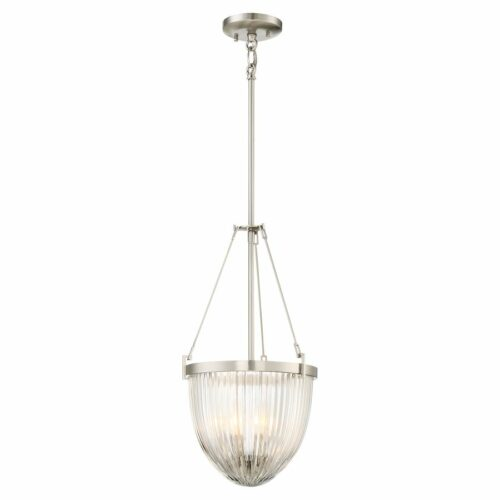 Hampton 3 light pendant in brushed nickel finish with clear glass shade on a white background