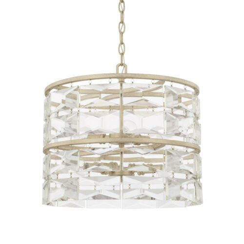 Selina winter white gold pendant light with crystals