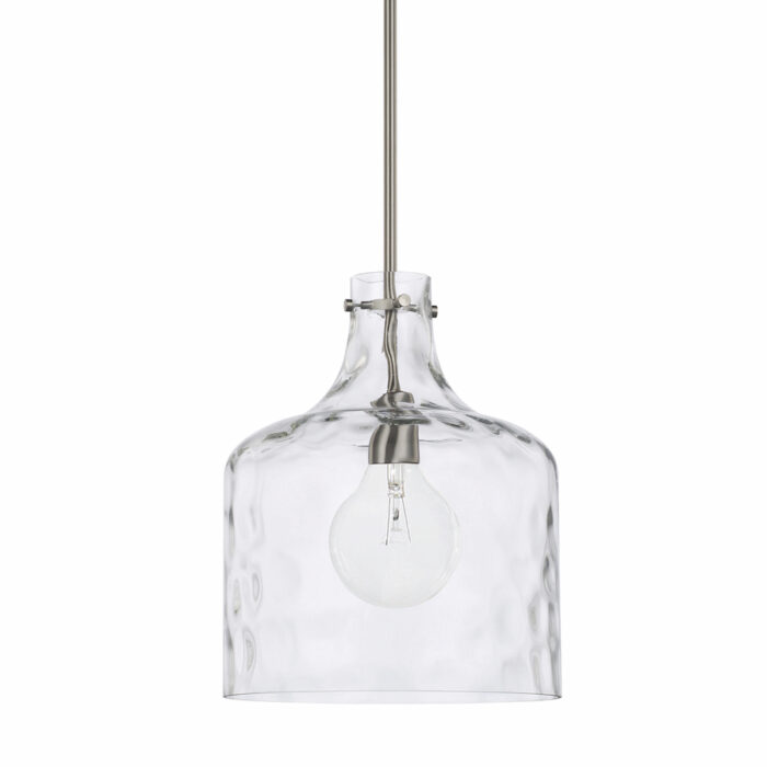 Water glass pendant in clear shade and brushed nickel on white background
