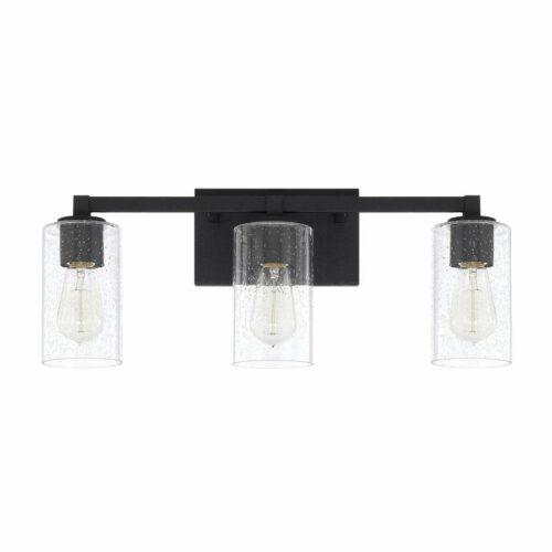 Blackwood 3 light vanity in black on white background