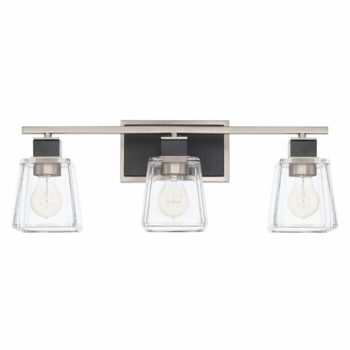 Parker 3 light vanity in black and brushed nickel