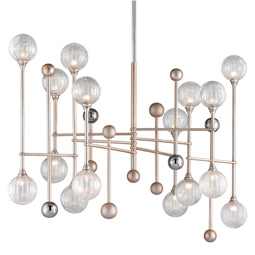 """TEXTURED GLASS AND SILVER CHANDELIER<div class=""""cost"""">WIT 81241/016</div>"""