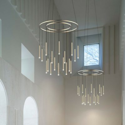 Contemporary LED chandelier brass