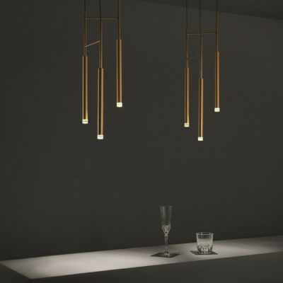 three light led pendant brass