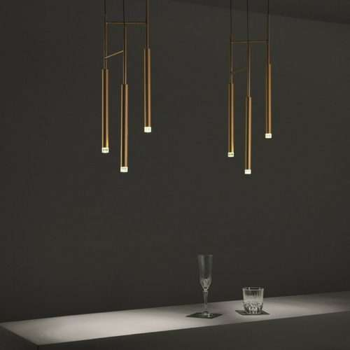 three light led pendant brass