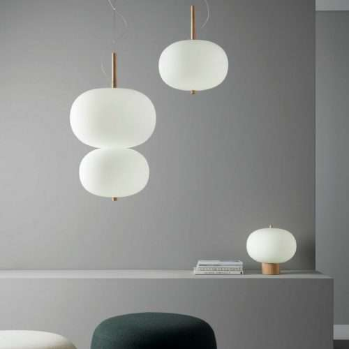 led blown glass pendant timber ilargi