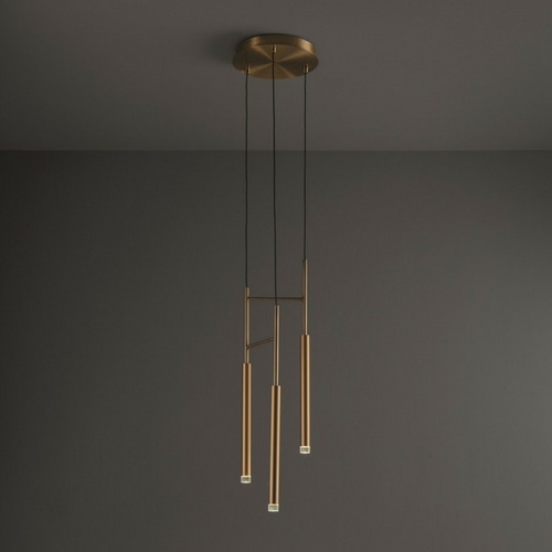 3 light LED pendant brass