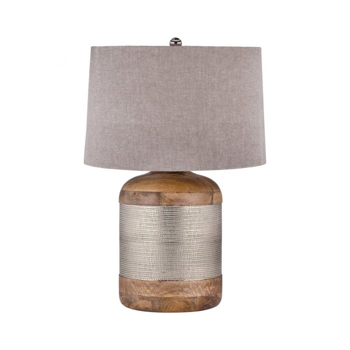 """SILVER DRUM TABLE LAMP<div class=""""cost"""">WIK 668983/021</div>"""