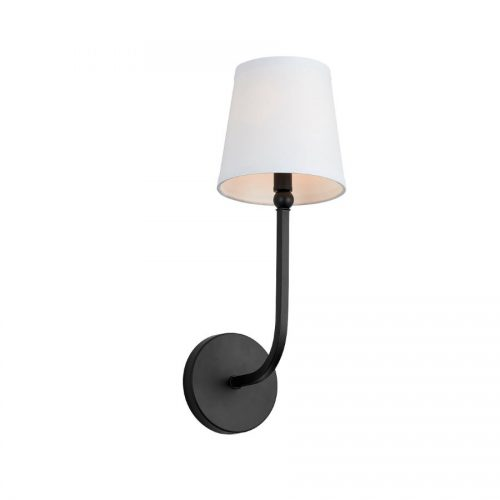 peyton one light wall sconce in black with white shade