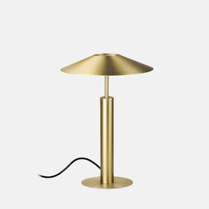 Henri gold table lamp on light grey background