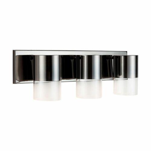 Nova 3 light vanity in black chrome on white background