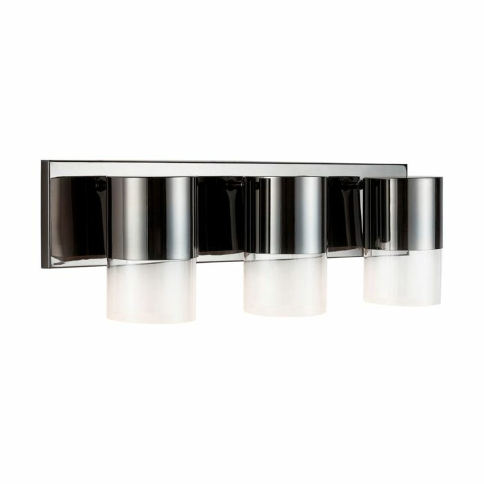 Nova 3 light vanity in black chrome on white background