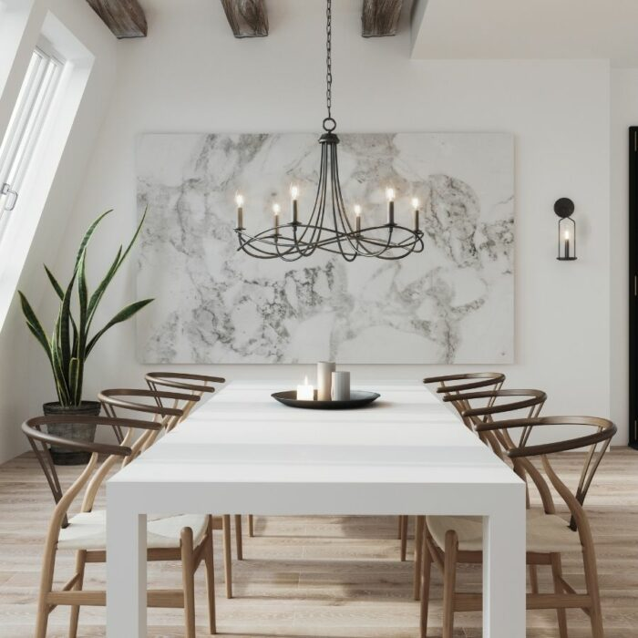 Allegra 6 light chandelier over a dining table