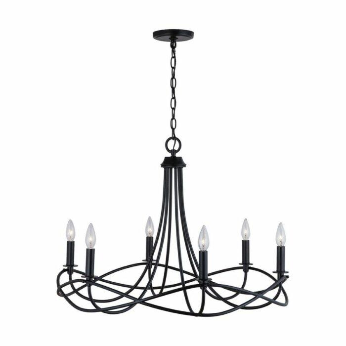 Allegra 6 light chandelier in matte black