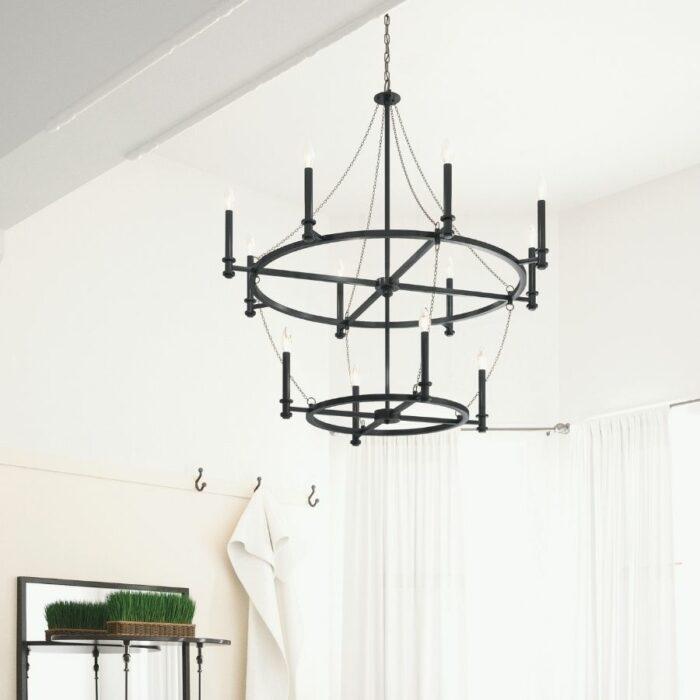 Allister 12 light chandelier in a bathroom