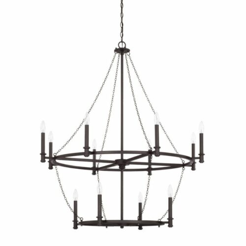Allister 12 light chandelier in black iron