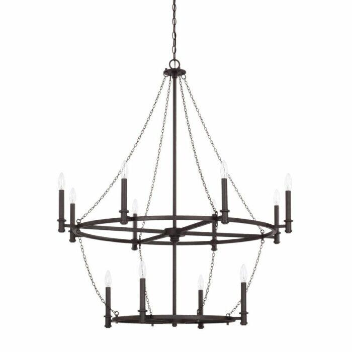 Allister 12 light chandelier in black iron