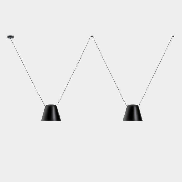 Atticus 2 light black pendant on a grey background