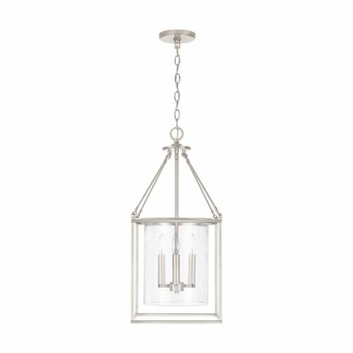 Atwater 4 light pendant brushed nickel on white background