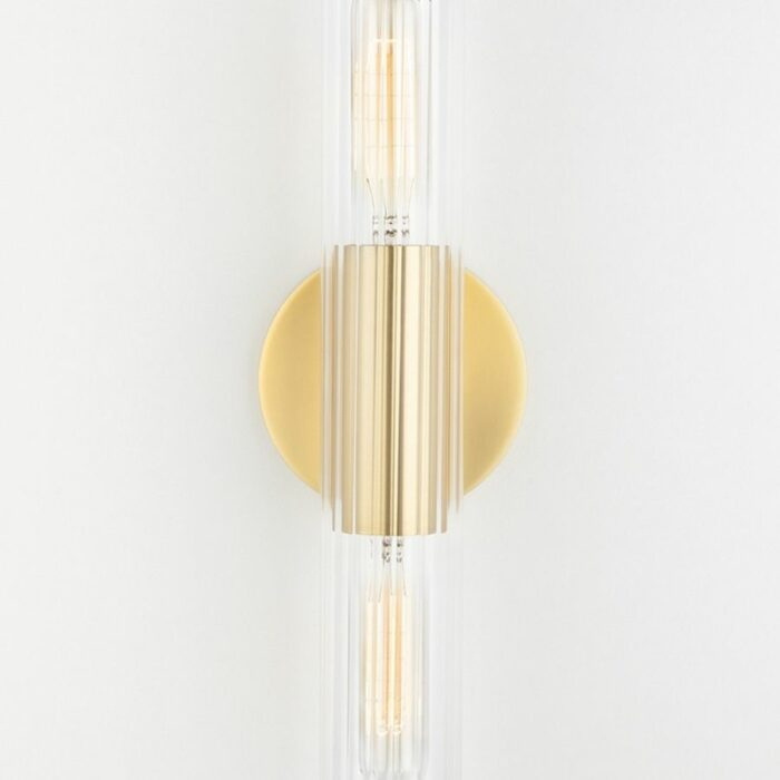 Bay 2 light ribbed glass wall sconce aged brass details
