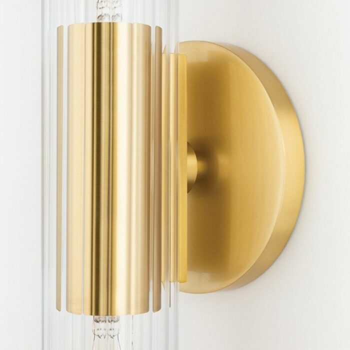 Bay 2 light ribbed glass wall sconce - aged brass details