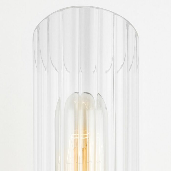 Bay 2 light ribbed glass wall sconce - aged brass glass details