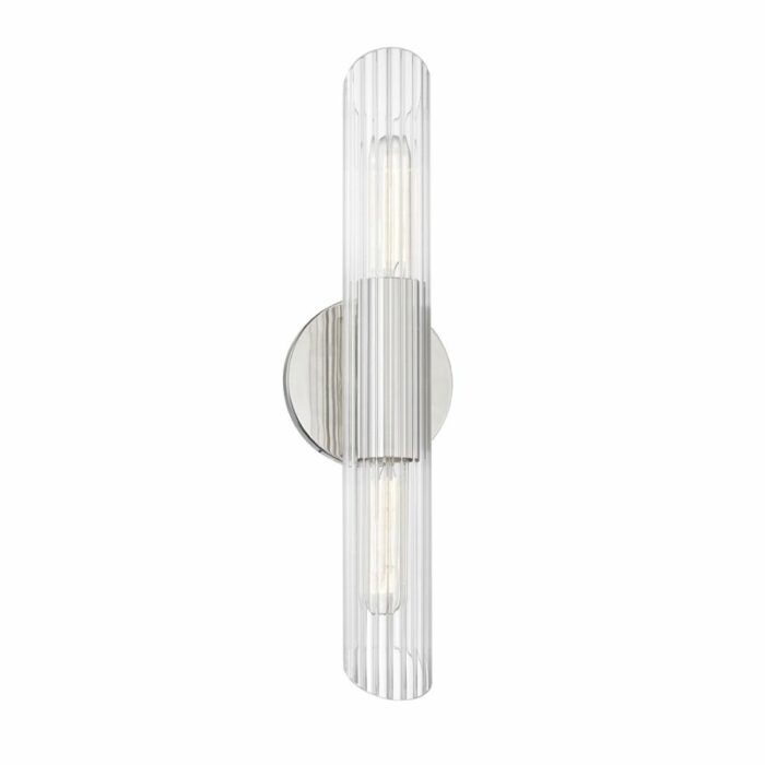 Bay 2 light ribbed glass wall sconce - polished nickel
