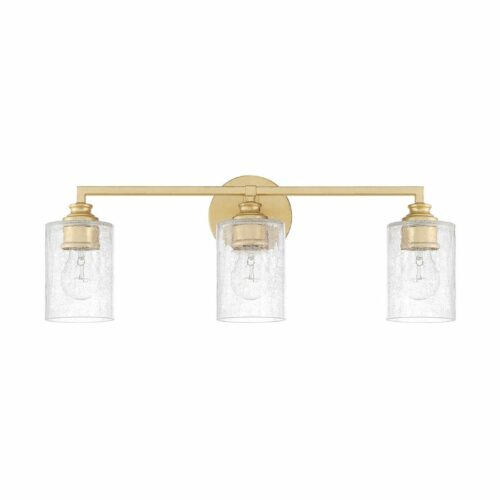 Blythe 3 light vanity wall light in gold with crackled glass shades on a white background