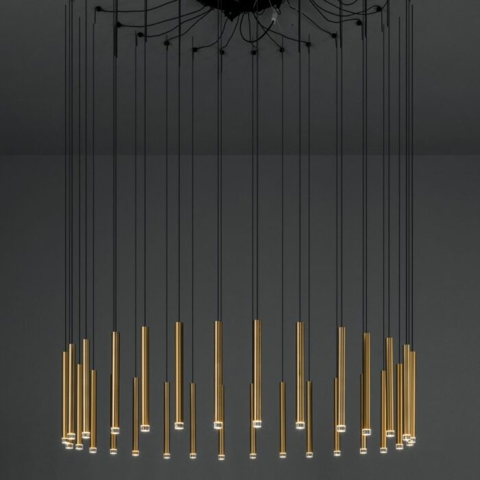 Candella 30 light LED chandelier in satin brass