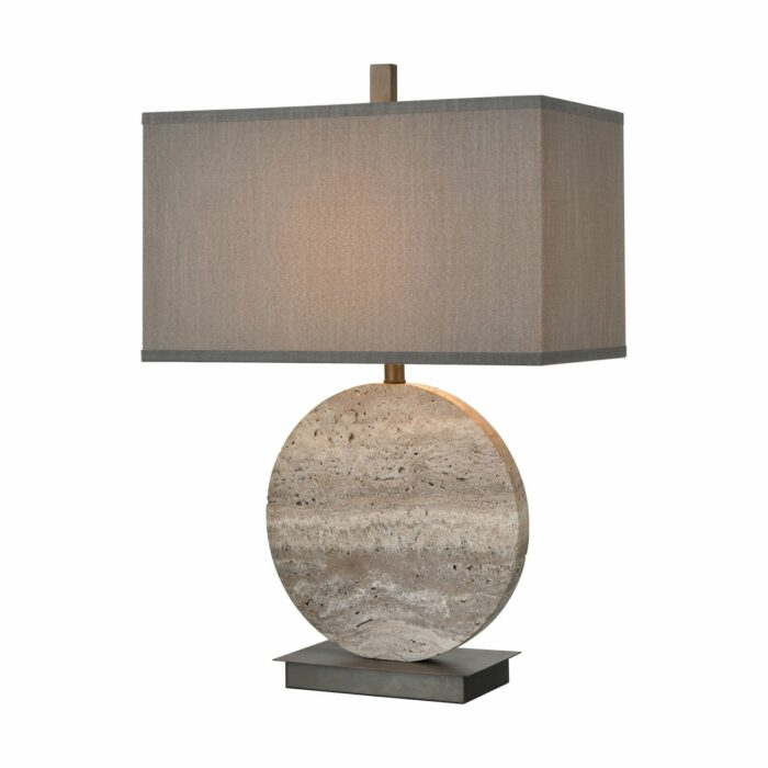 Carson grey stone table lamp with bronze base and grey faux-silk shade