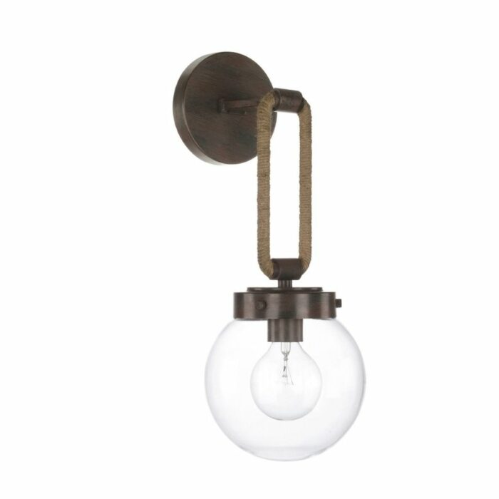 Catalina glass wall sconce in brown and rope on white background