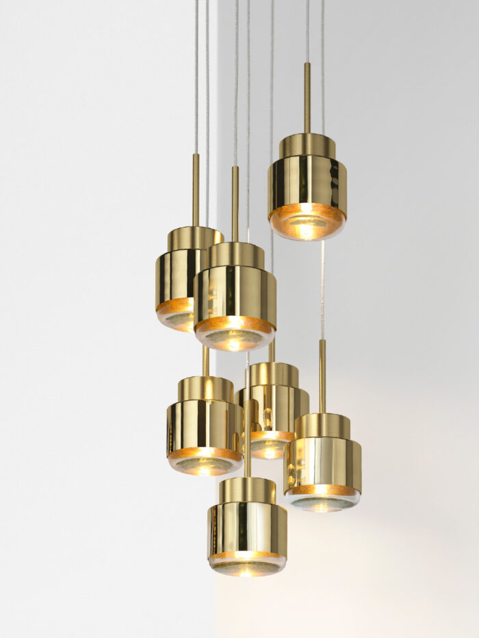 Cupallo pendant light brass cluster