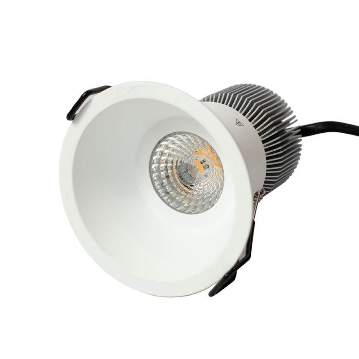 White round downlight on a white background