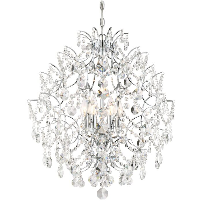 Gisele 6 light chrome crystal chandelier