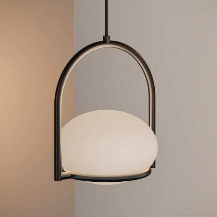 Koko single black pendant light close up