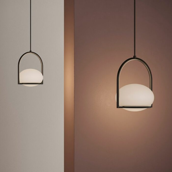 Koko single black pendant lights in studio