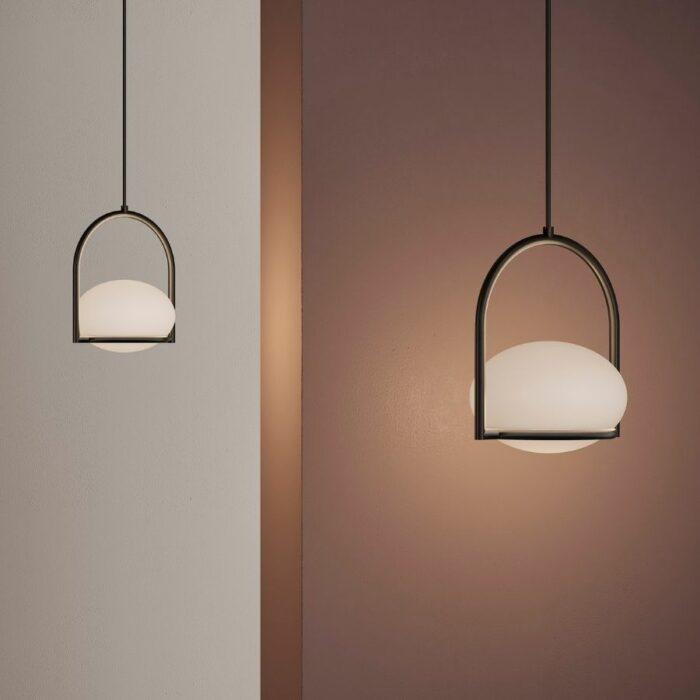 Koko single black pendant lights in studio