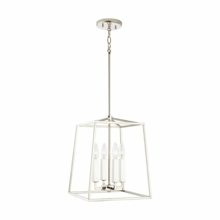 Lakehouse 4 light mini lantern polished nickel side view