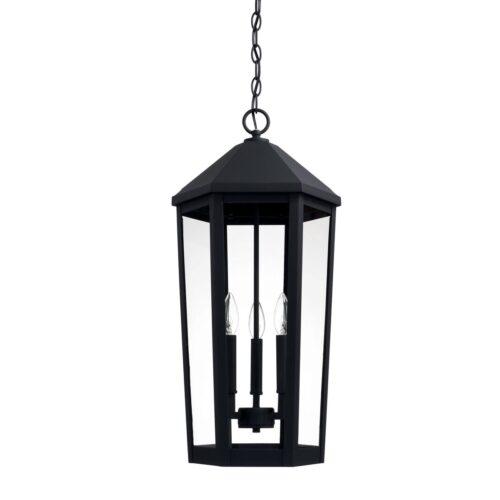 Landon 3 light black exterior hanging lantern
