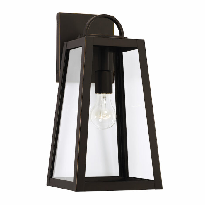 Lewis 1 light bronze exterior wall lantern