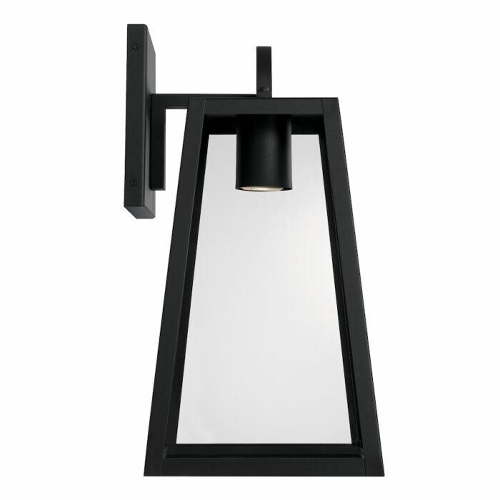 Lewis black exterior wall lantern with GU10 downlight