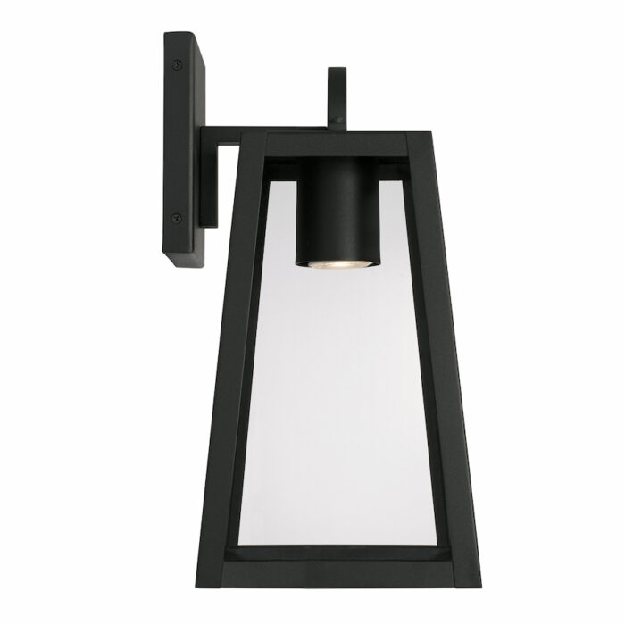 Lewis small black exterior wall lantern with GU10 downlight