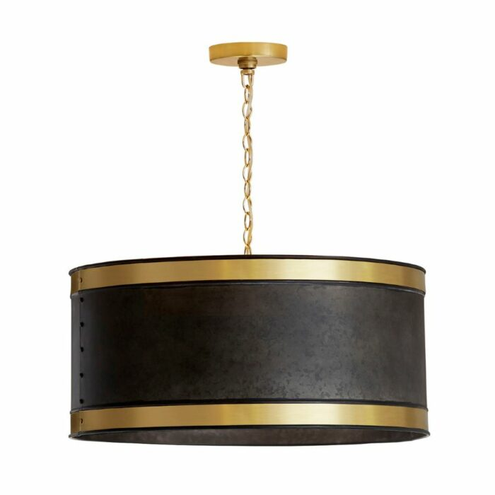 Lonny 4 light industrial drum pendant in black and brass