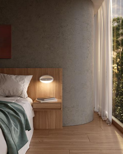 Modern wall light displayed in the bedroom