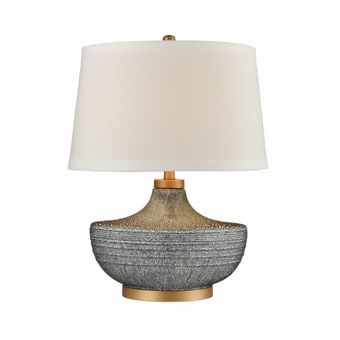 Sloane earthenware table lamp with blue bubble glaze, gold finish and white fabric shade