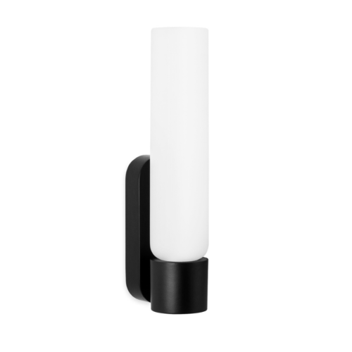 Deon LED vanity wall light in black with white glass