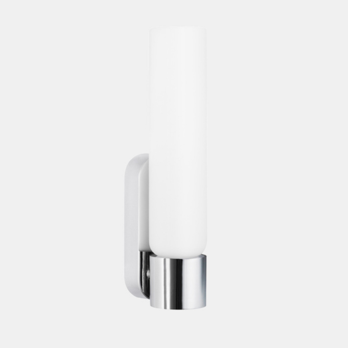 Deon LED vanity wall light in chrome with white glass